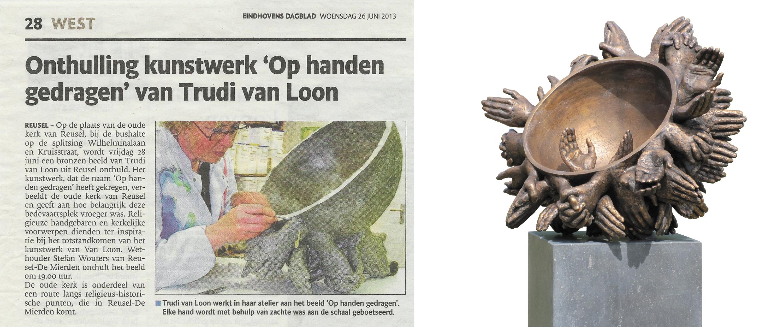 Op handen gedragen - brons - 2013